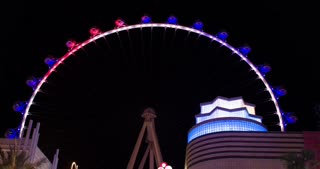 Las Vegas Ferris Wheel the High Roller at night 4k