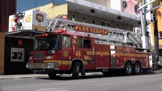 Las Vegas Fire and Rescue truck in downtown Fremont 4k