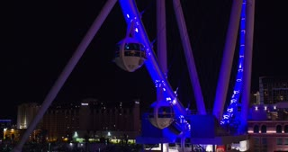Las Vegas High Roller Ferris Wheel at night 4k