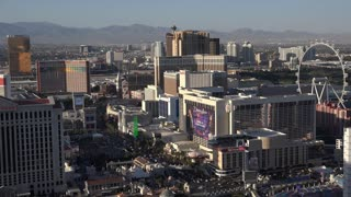 Las Vegas Hotels and Casinos on the strip wide angle aerial 4k