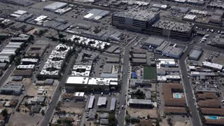Las Vegas industrial area of downtown aerial wide angle view 4k