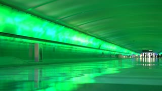 Light show in connecting tunnel of Detroit Airport 4k