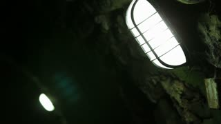 Lighting in dark underground tunnel