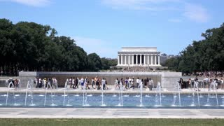 Lincoln and National World War II memorial in Washington DC 4k