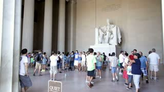 Lincoln at Memorial with guests