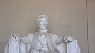 Lincoln in chair at memorial in Washington DC 4k