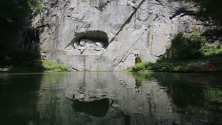 Lion of Lucerne reflection in water