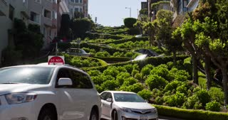 Lombard Street winding through San Francisco 4k