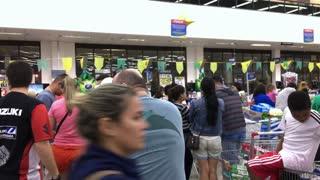 Long lines at busy super market in Rio de Janeiro