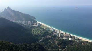 Looking down at beaches of Rio de Janeiro 4k