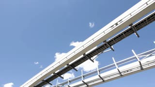 Looking up at Monorail passing by with blue sky
