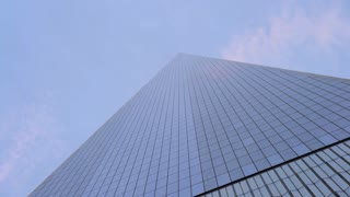 Looking up at the One World Trade Center in New York City 4k