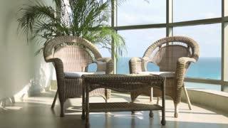 Lounge area near window of ocean pan