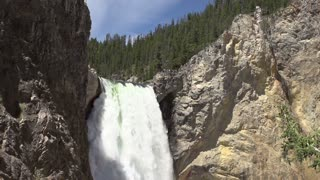 Lower Yellowstone falls tilt shot in slow motion