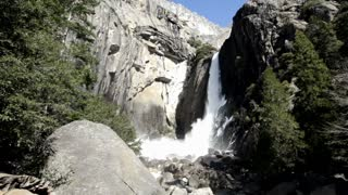 Lower Yosemite Falls water hitting rocks
