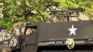 Machine gun on top of transport vehicle of US military 4k