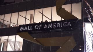Mall of America entrance sign in winter snow 4k