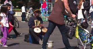 Man playing bongo in San Francisco street 4k