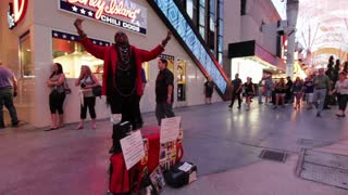 Man posing as statue on Fremont Las Vegas