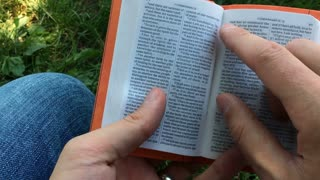 Man reading through bible sitting in grass.