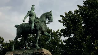 Man riding horse statue in cologne germany