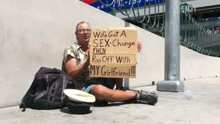 Man with funny sign in Las Vegas