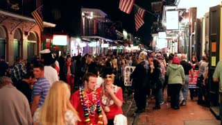Mardi Gras 2012 Bourbon street large crowds of people