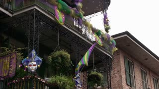 Mardi gras flag with bubbles blowing