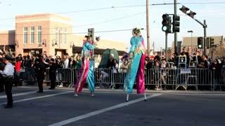 Mardi Gras Men on Stilts in Parade