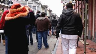 Mardi Gras view of bourbon street