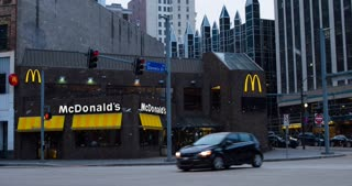 McDonalds restaurant in downtown Pittsburgh at intersection 4k