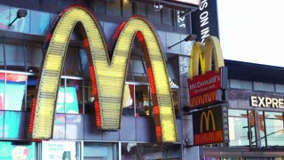 McDonalds restaurant in downtown Times Square New York City 4k