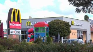 Mcdonalds Restaurant with exterior playground in Hanau Germany 4k