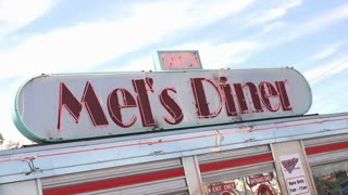 Mels Diner Classic restaurant entrance in Gatlinburg 4k