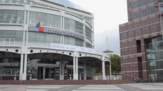 Messe Frankfurt entrance in downtown 4k