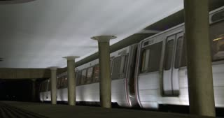 Metro station departing underground station in Washington DC 4k