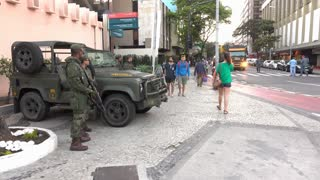 Military along streets during Rio Olympics 2016 4k