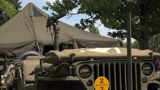 Military gunner vehicle at base camp 4k