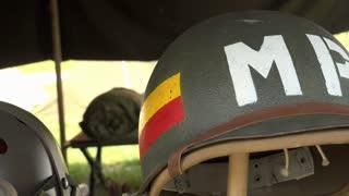Military helmet on display 4k