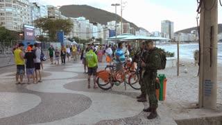 Military of Rio de Janeiro guarding Copacabanabeach 4k