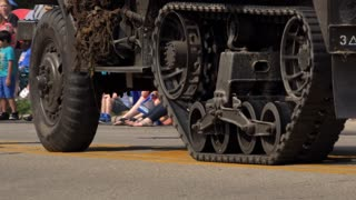 Military vehicle with continuous track tread 4k