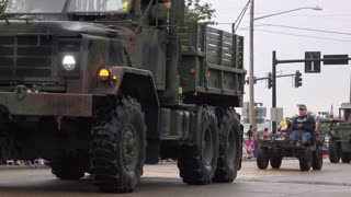 Military vehicles in 4th of July parade 4k