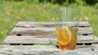 Mixed drink sitting on table outdoor
