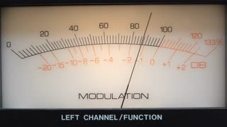 Modulation needle moving back and forth on audio equipment 4k