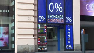 Money exchange shop in Prague