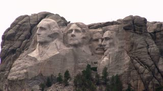 Mount Rushmore faces in mountain