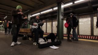 Mountain Animation group playing in New York City subway