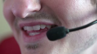 Mouth of costumer service telephone representative