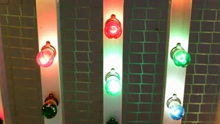 Multi colored light bulbs flashing