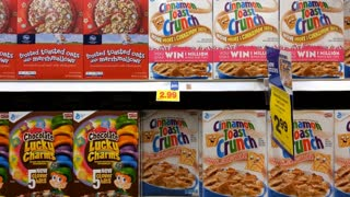 Multiple cereal options at grocery store aisle